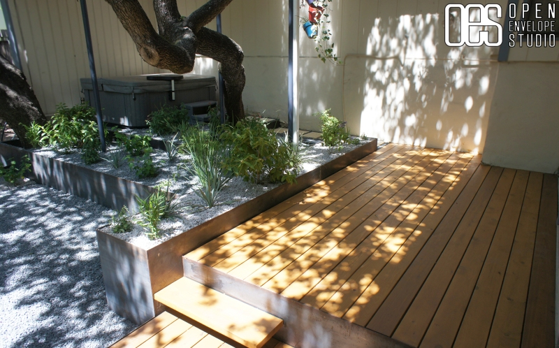 OES   Cedar decking with steel planters