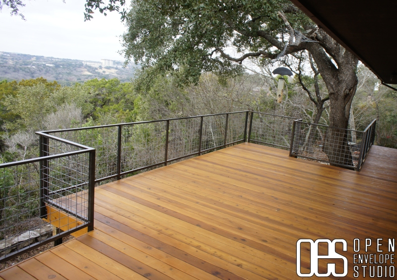 Open Envelope Studio|cedar deck with steel railing