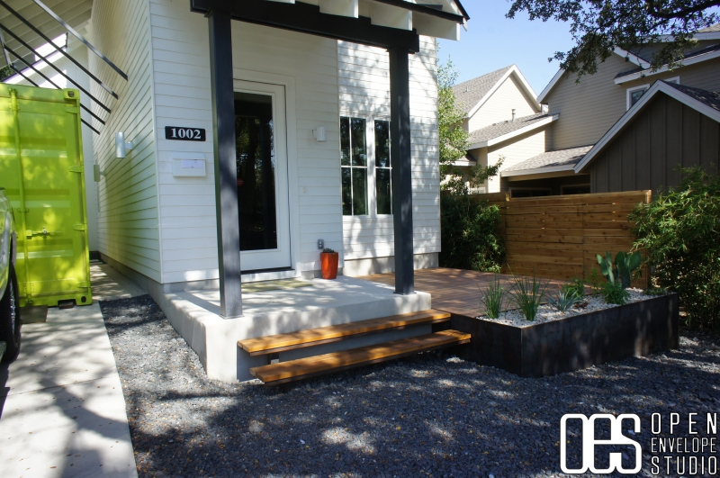 OES   Cedar deck with steel facia cantilevered steps
